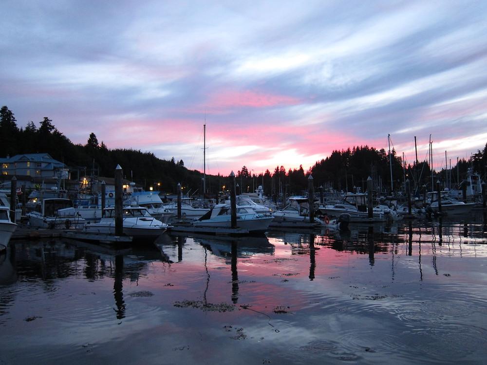 Marina sunset in Port Hardy