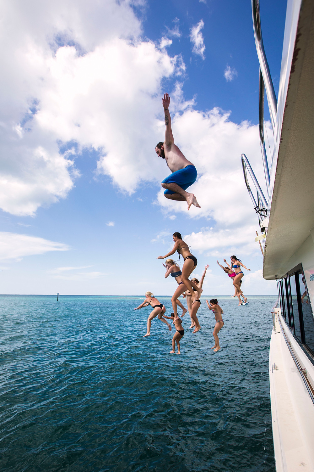 Bachelorette Party jumping off yacht