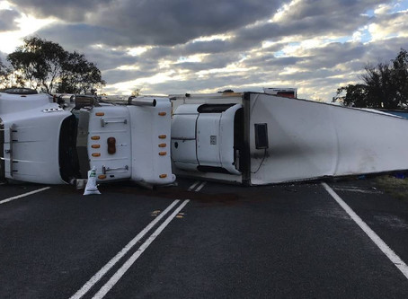 New England Highway closed after truck rollover