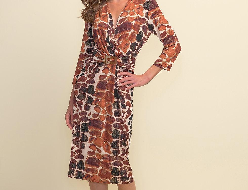 Joseph Ribkoff 211233 Vanilla/Brown/Black Dress UK10