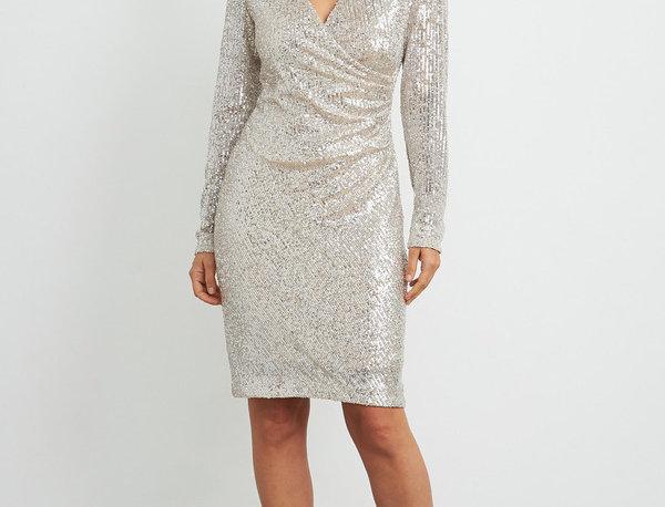 Joseph Ribkoff 204314 Silver/Nude Sequin Dress UK12