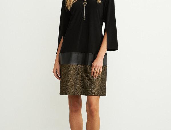 Joseph Ribkoff 204132 Black/Gold Faux Leather Dress UK12