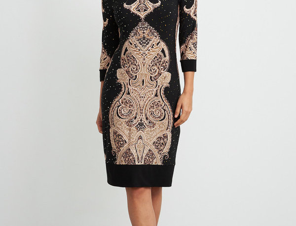 Joseph Ribkoff 204325 Black/Beige/Brown 3/4 Sleeve Dress UK12