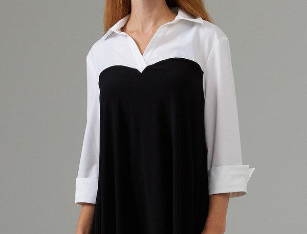 Joseph Ribkoff 203194 Black/White 3/4 Sleeve Top UK12