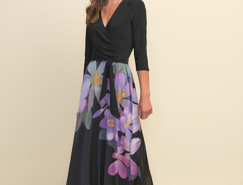 Joseph Ribkoff 211177 Black/Purple/Multi Dress UK10