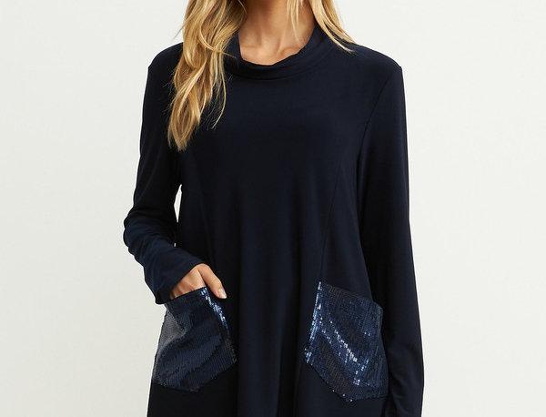 Joseph Ribkoff 204246 Midnight Blue Mock Neck Sweater UK12