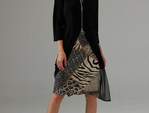 Joseph Ribkoff 203692 Black/Multi Dress UK12