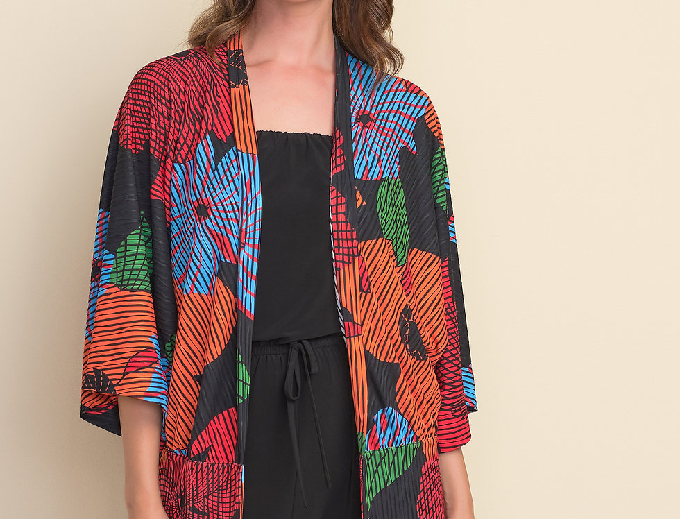 Joseph Ribkoff 212310 Black/Multi Cover Up M