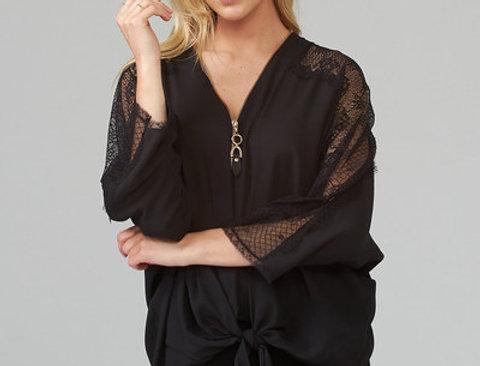 Joseph Ribkoff 203685 Black Lace Sleeve Top UK12