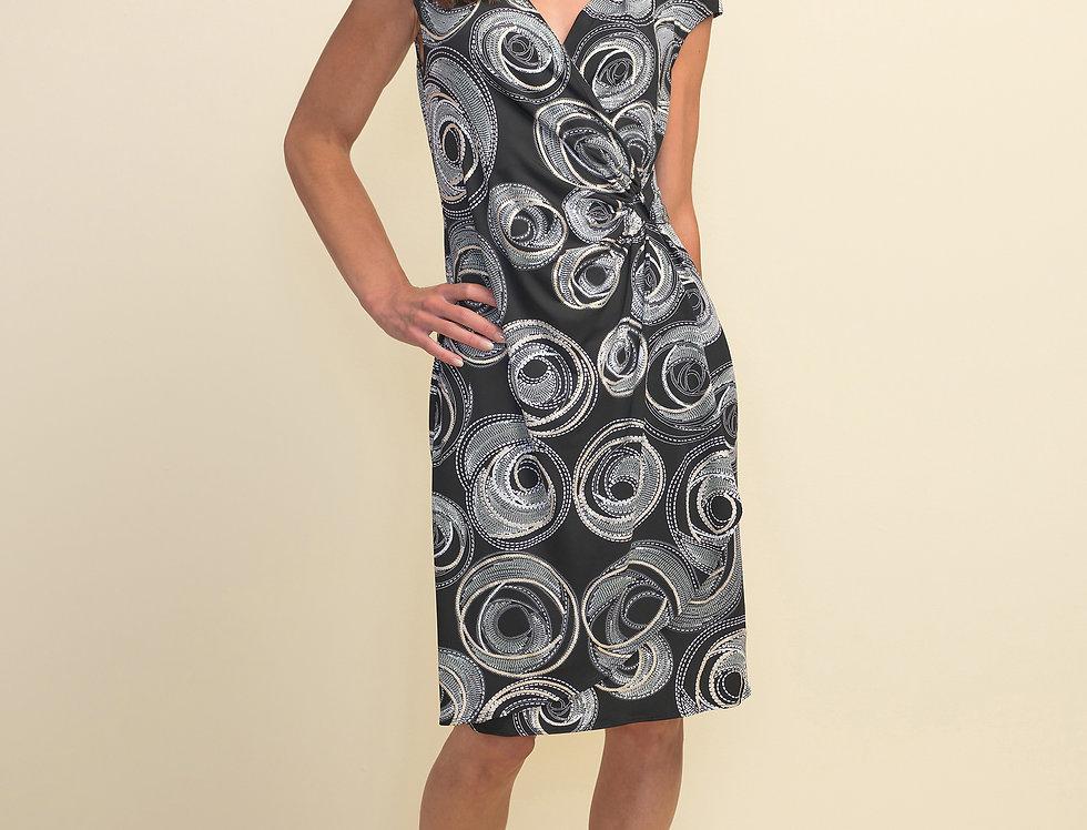Joseph Ribkoff 211245 Black/White/Gold Dress UK10