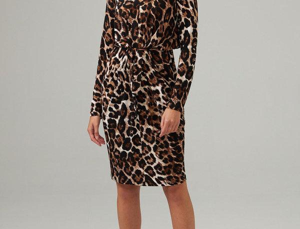Joseph Ribkoff 203373 Brown/Multi Animal Print Wrap Dress UK12