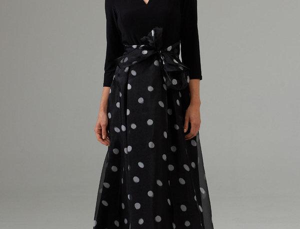 Joseph Ribkoff 203440 Black/White Polka Dot Dress UK12