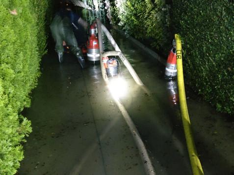 Kleingartensiedlung nach Rohrbruch überflutet