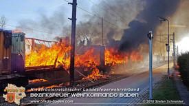 Brand mehrerer Güterwaggons im Bahnhof Pfaffstätten