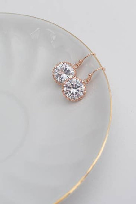 Rose Gold Crystal Clear Round Earrings