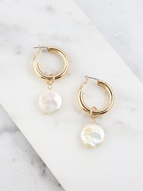 Tilly shine hoop earrings with pearl drop