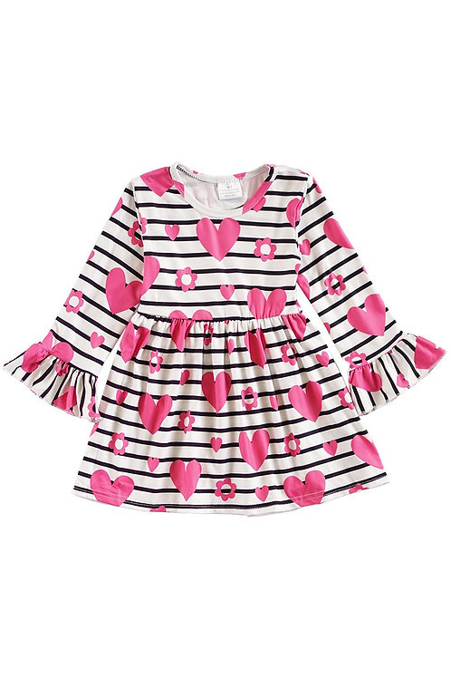 Pink hearts, black stripes dress