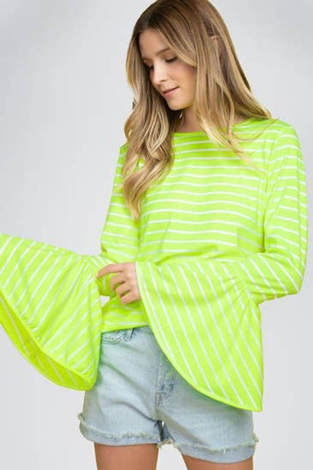 Striped bell sleeve top-Neon Yellow