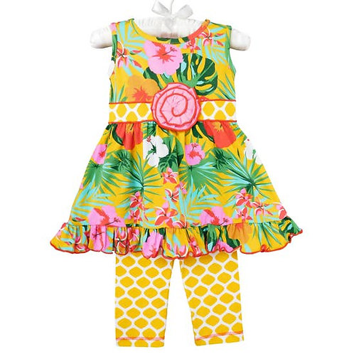 Hibiscus Tropical Floral Dress and Leggings