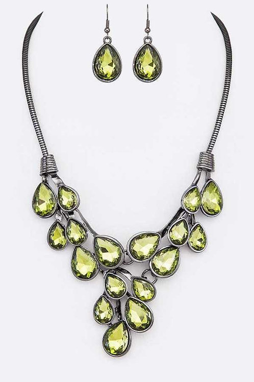 Teardrop Statement Necklace with earrings set