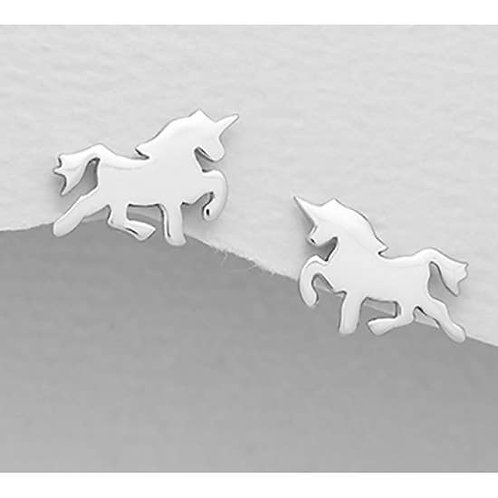 Girls Sterling Silver Unicorn Earrings