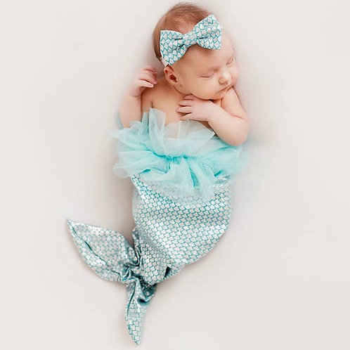 Newborn photo set- Mermaid Tail and Headband
