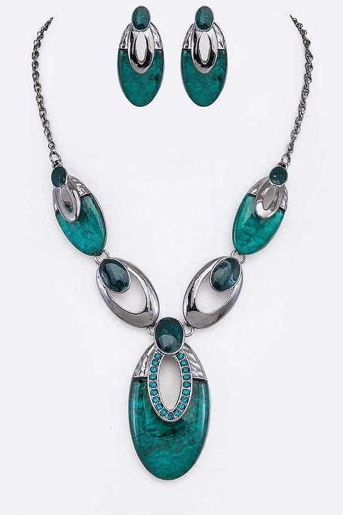 Teal Resin Pendant Necklace and Earrings