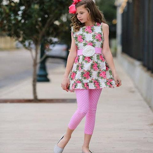 Spring Shabby Floral Dress/Leggings