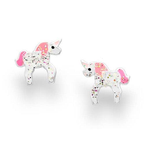 Girls Glitter Unicorn Earrings, Sterling Silver
