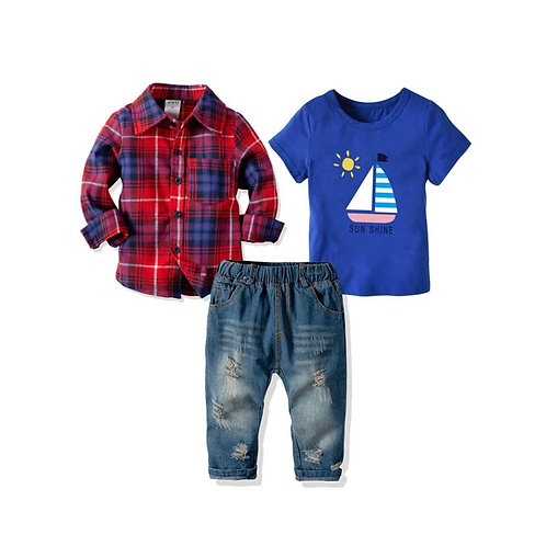3-Piece Outfit, Turn down collar,jeans, and t-shirt