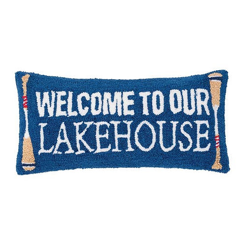 Welcome To Lakehouse 12 x 24 Hooked Pillow