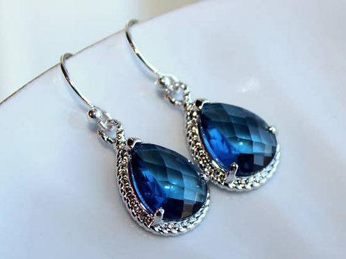 Sapphire Earrings Navy Blue Teardrop