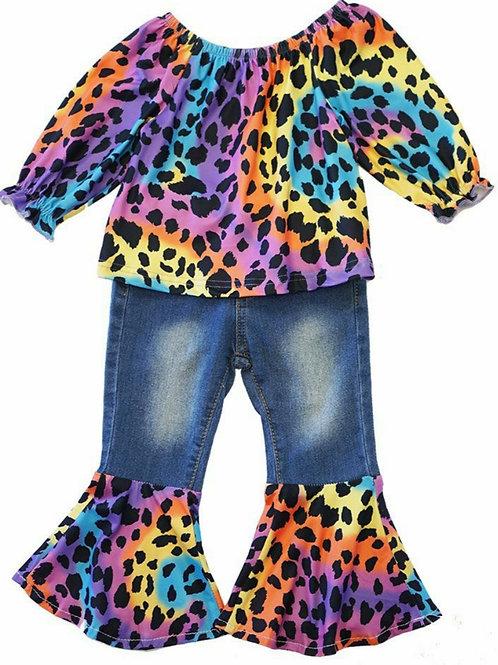 Leopard Rainbow Tie Dye 2 piece outfit