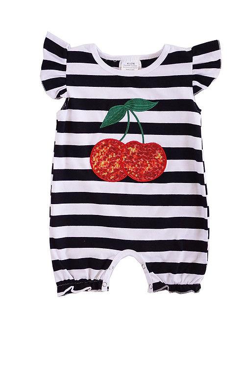 Cherry Sequin Stripe Baby Romper