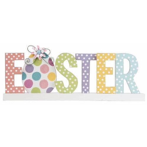 Wood Multicolor Easter Word Block Decor