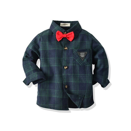 Turn down collar shirt with bow tie