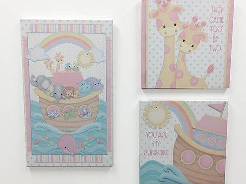 3-piece Noah'sArc Baby Canvas Set