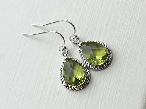 Peridot Earrings Silver Apple Green Jewelry Teardrop Silver Rope Style