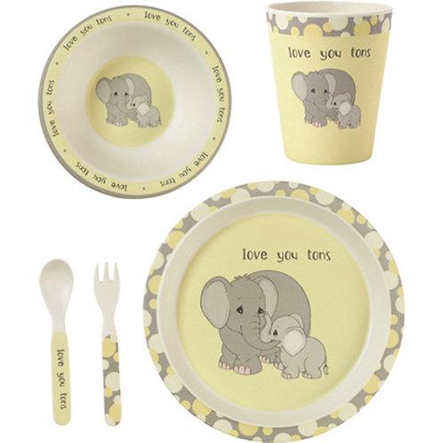 5 piece Elephant Mealtime Gift Set- Precious Moments