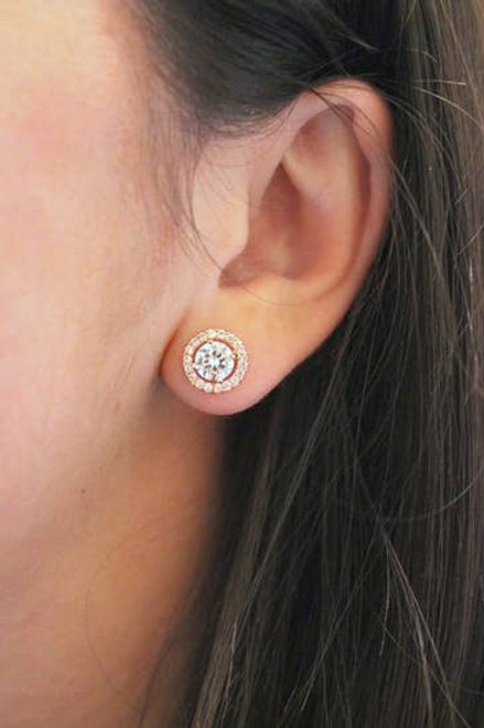 Crystal Round Stud Earrings (Gold)