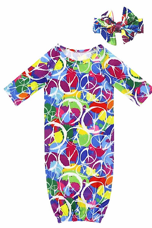 Peace Sign baby gown