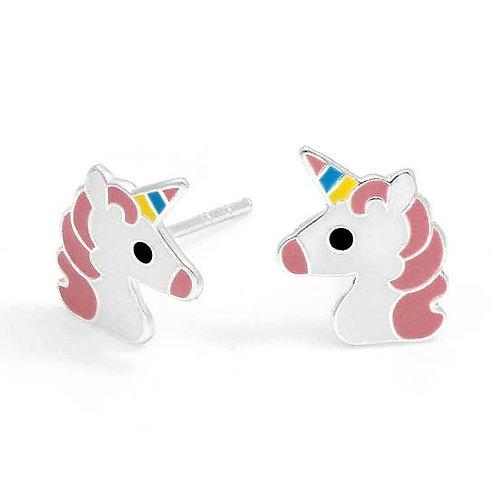 Girls Unicorn Rainbow Earrings. Sterling Silver