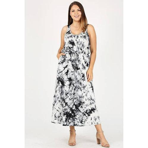 Marble Print Maxi Dress