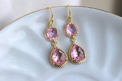 Gold Light Pink/ Blush Earrings