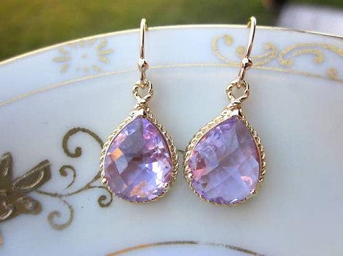 Lavender Earrings Purple Gold