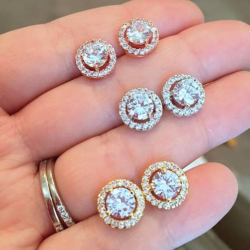 Crystal Round Stud Earrings (Silver)