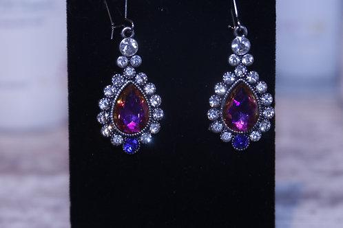 Rhinestone Earrings/ Pink and Blue