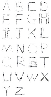 Kitchenware alphabet
