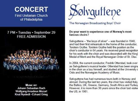 The Norwegian Boys Choir comes to the First Unitarian Church of Philadelphia