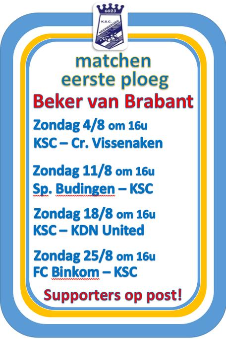 Eerste ploeg: Beker van Brabant